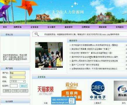 php大学生人力资源求职招聘网